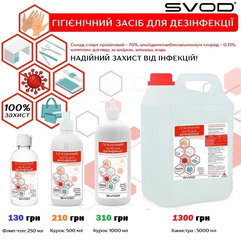 Антисептик (дезинфікатор) для рук і дезинфікації поверхонь SVOD 250/500/1000\5000 мл