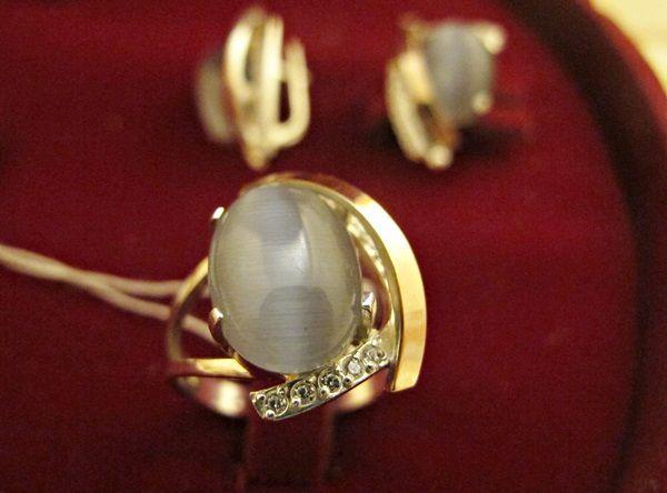 Комплект срібний: перстень, сережки