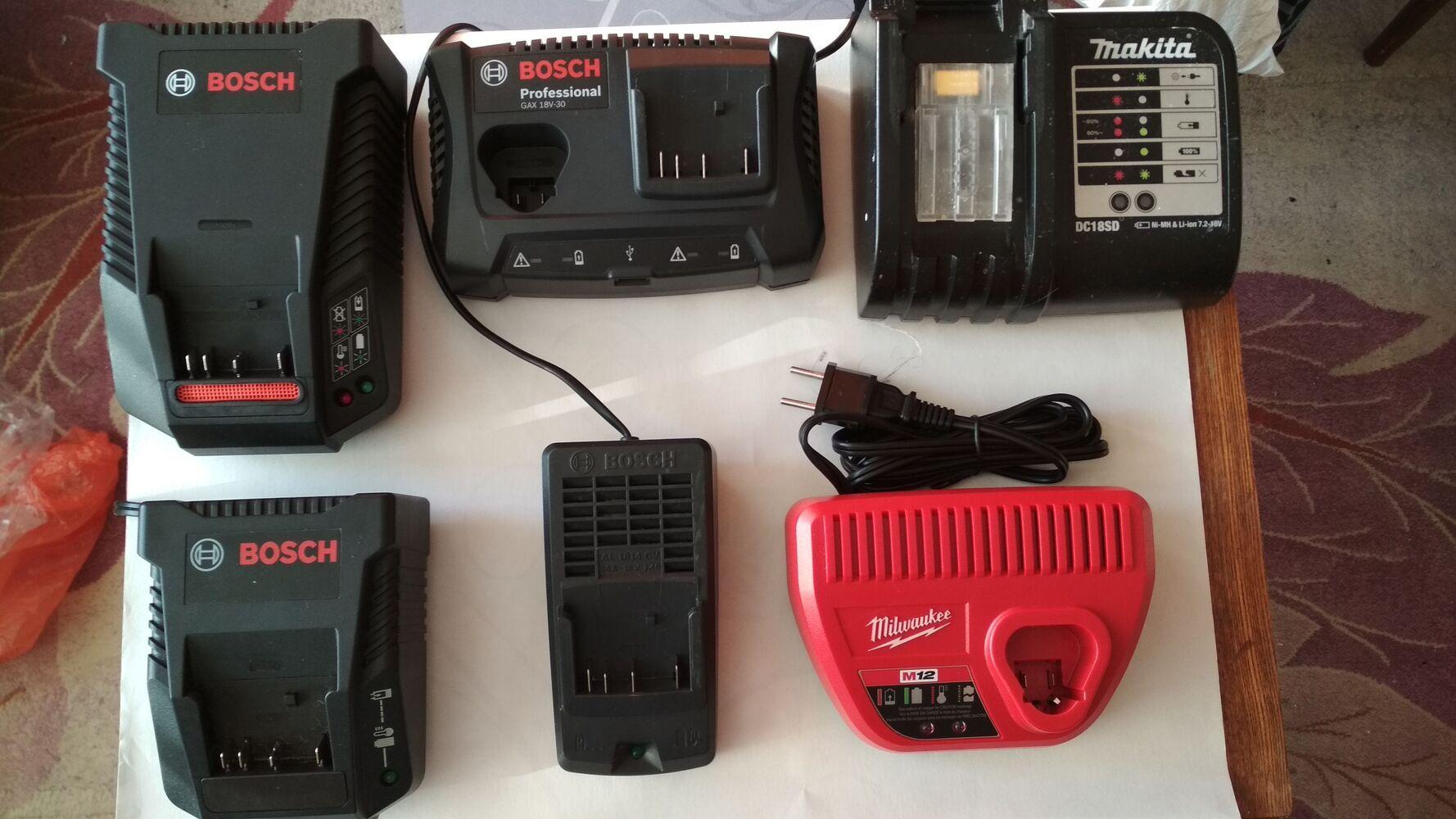 Зарядний пристрій, акумулятори Milwaukee, Bosch, Makita.