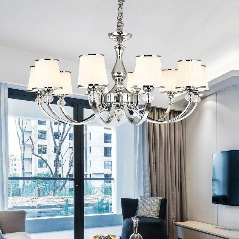Люстра для вітальні кришталева, хромове покриття, 10 ламп