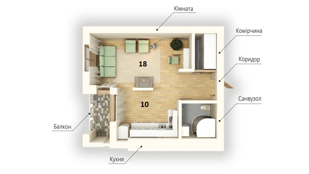 Продам 1-кімнатну квартиру.