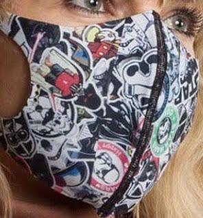 Захисна маска Пітта, багаторазова, 3-х шарова тканина, неопрен.