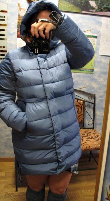 Пуховик жіночий Snowimage, 48-50 розмір кольору морської хвилі, теплий зі штучного пуху