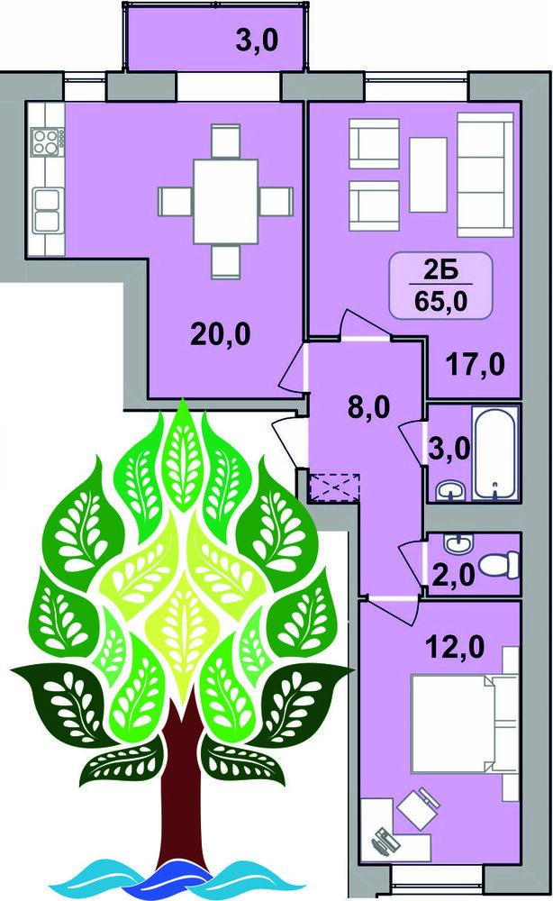 2-кімнатна квартира (центр)